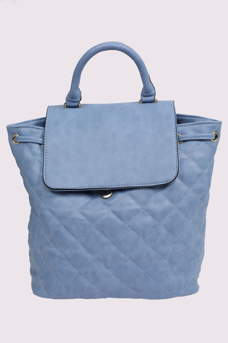 Quilted Detail Backpack in Aqua Blue 4