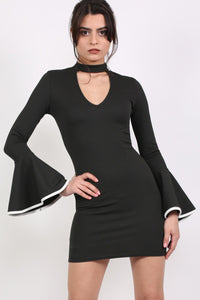 Frill Sleeve Choker Neck Bodycon Dress in Black MODEL FRONT