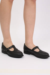 T-Bar Flat Brogue Shoes in Black 1