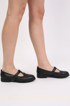 T-Bar Flat Brogue Shoes in Black 2