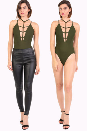 Ladder Caged Front Bodysuit in Khaki Green 1