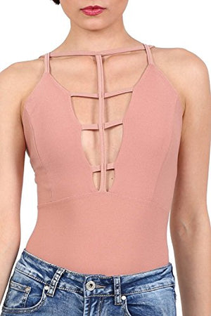 Ladder Caged Front Bodysuit in Rose Pink