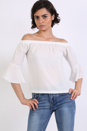 Frill Sleeve Floaty Bardot Top in Ivory White 1