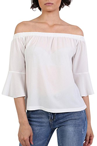 Frill Sleeve Floaty Bardot Top in Ivory White