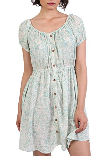 Scoop Neck Smock Printed Skater Mini Dress in Jade Green