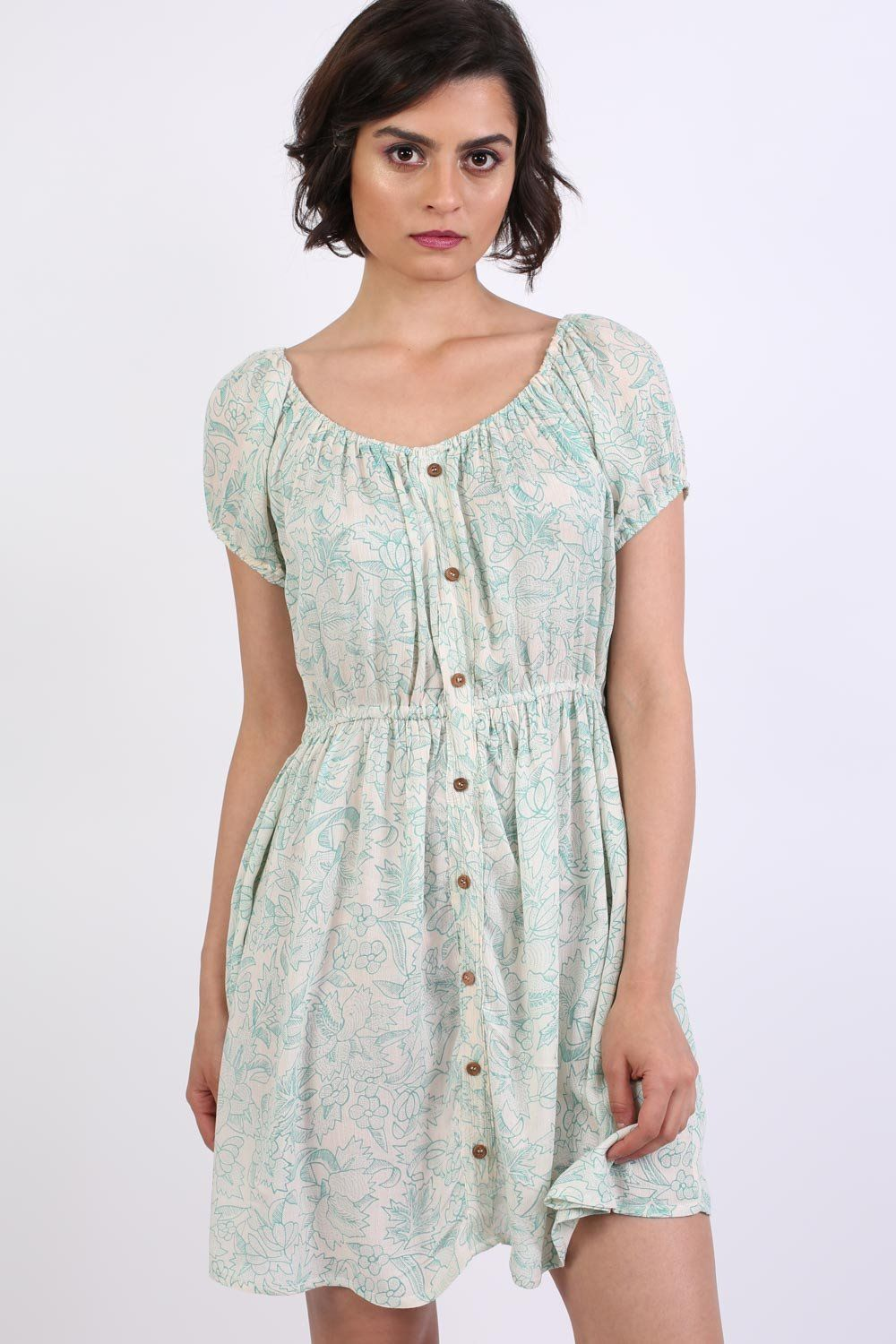 Scoop Neck Smock Printed Skater Mini Dress in Jade Green 1