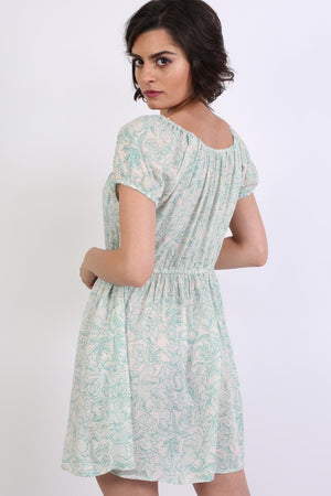 Scoop Neck Smock Printed Skater Mini Dress in Jade Green 2
