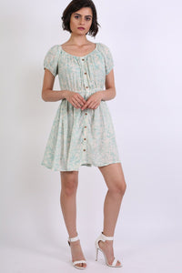 Scoop Neck Smock Printed Skater Mini Dress in Jade Green 4