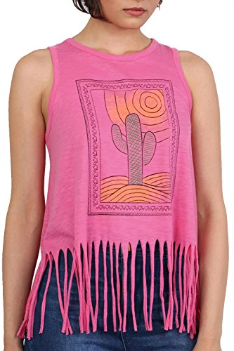 Cactus Desert Print Tassels Vest Top in Candy Pink