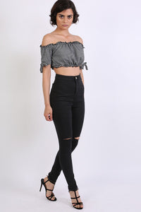 High Waisted Ripped Knee Skinny Jeans in Black 5