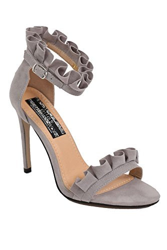 Frill Detail Strappy High Heel Sandals in Light Grey