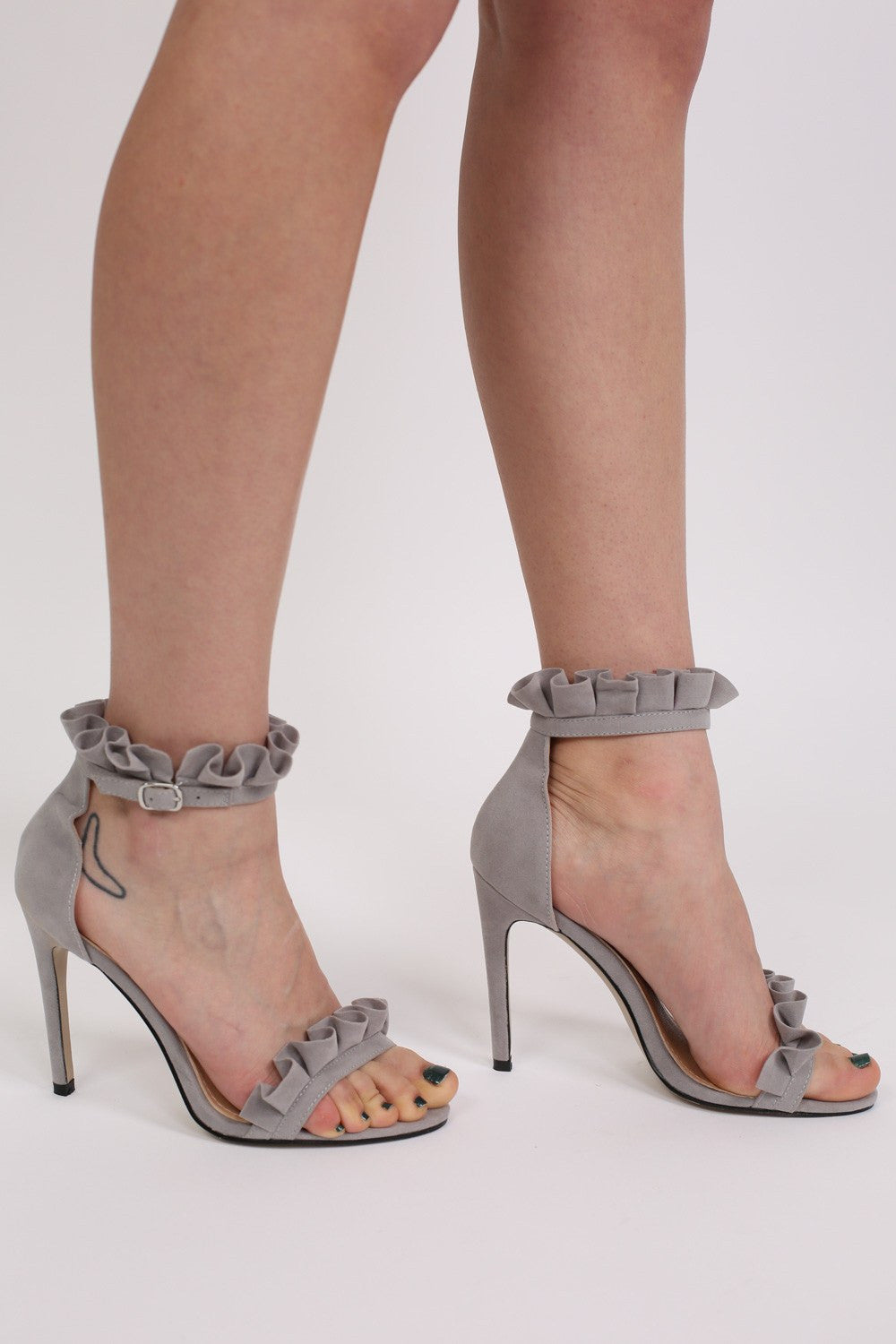 Frill Detail Strappy High Heel Sandals in Light Grey 1