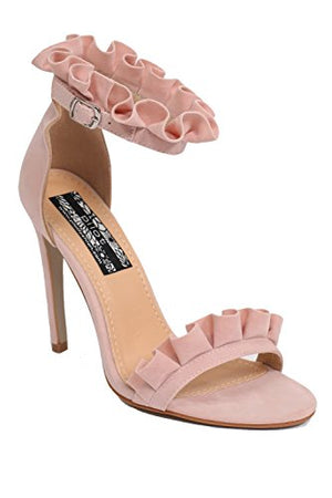 Frill Detail Strappy High Heel Sandals in Pale Pink