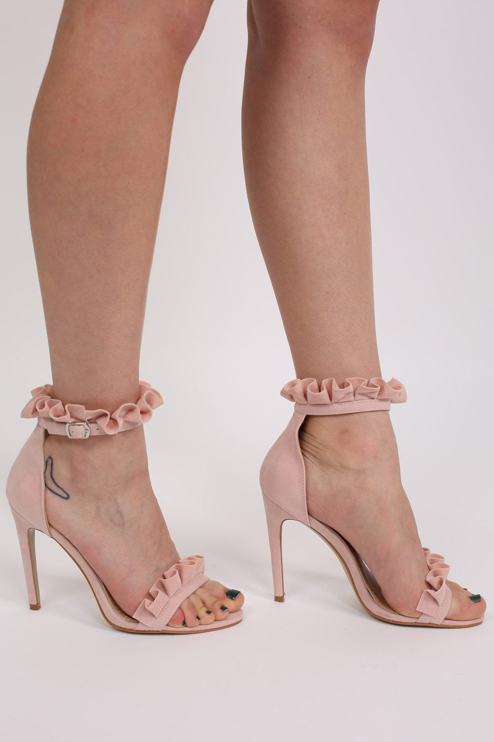 a719929b9ce6 Frill Detail Strappy High Heel Sandals in Pale Pink – pilot