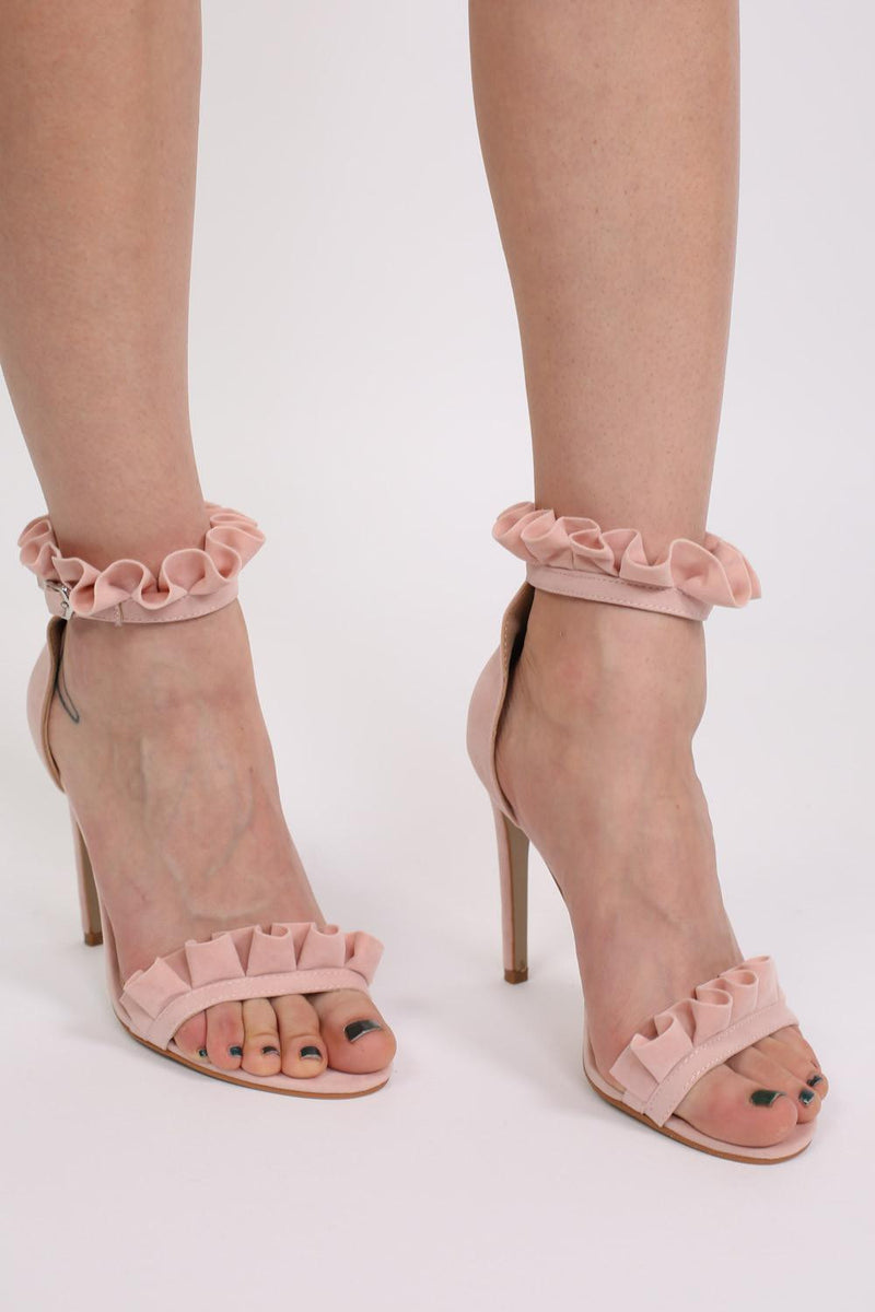 Frill Detail Strappy High Heel Sandals in Pale Pink 2