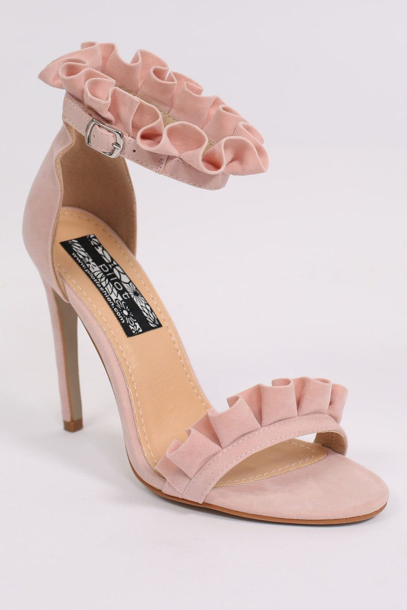 Frill Detail Strappy High Heel Sandals in Pale Pink 6