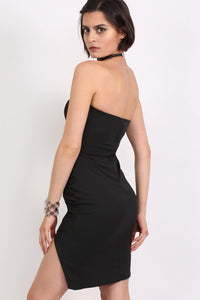 Lace Up Front Ruched Bandeau Fitted Mini Dress in Black 2