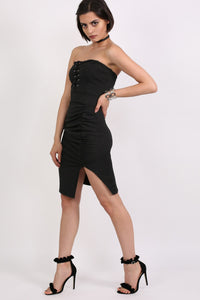 Lace Up Front Ruched Bandeau Fitted Mini Dress in Black 4