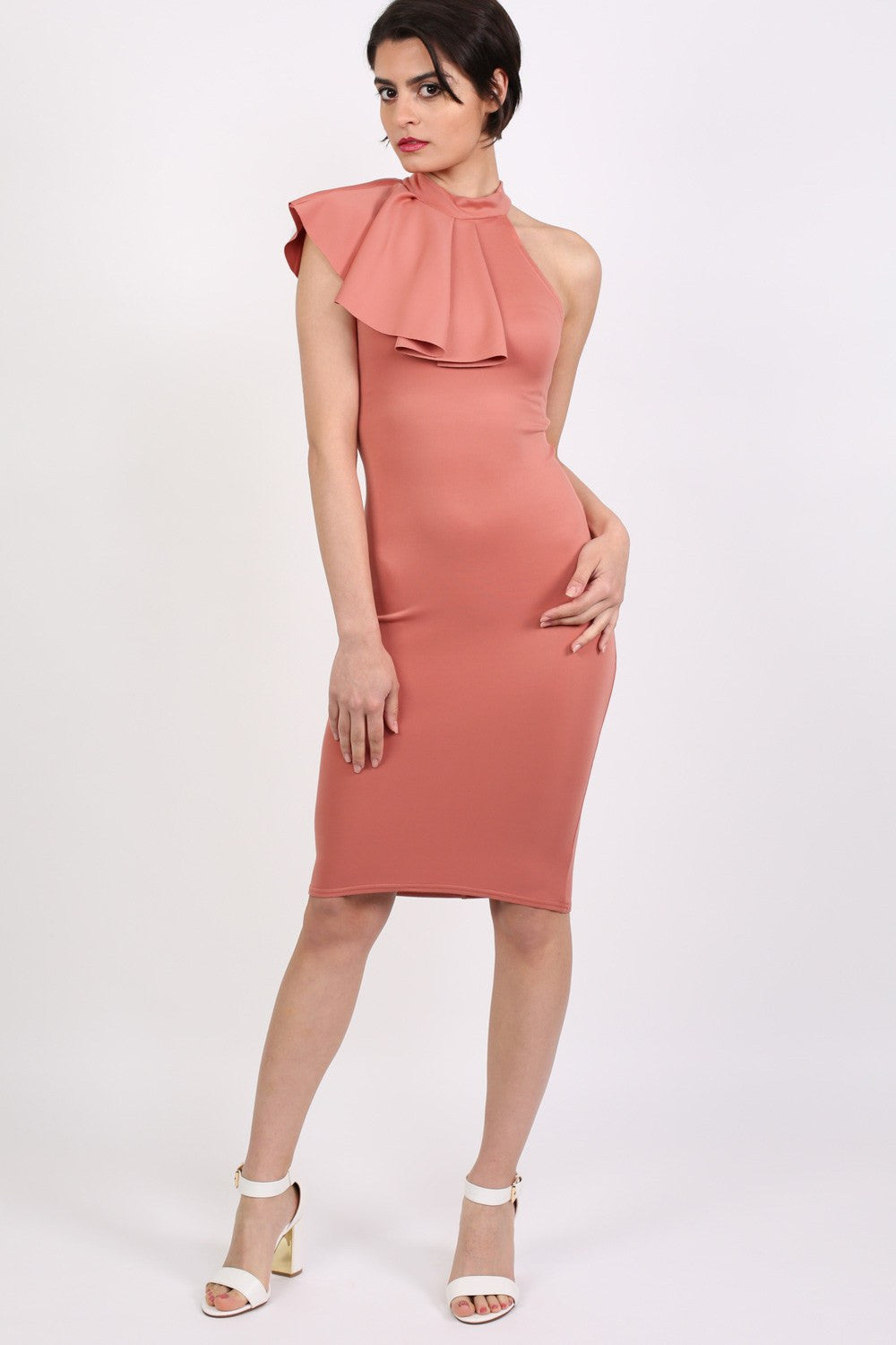 High Neck Frill Detail Bodycon Midi Dress in Coral 1