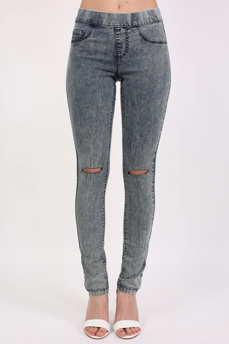 Ripped Knee Acid Wash Jeggings in Denim 1