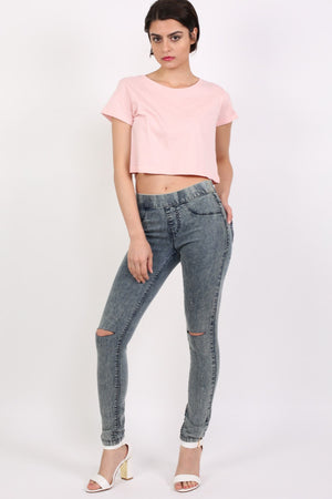 Ripped Knee Acid Wash Jeggings in Denim 2