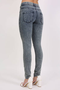 Ripped Knee Acid Wash Jeggings in Denim 3