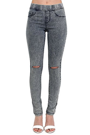 Ripped Knee Acid Wash Jeggings in Denim