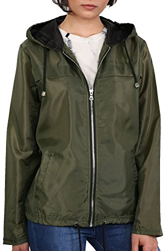 Lightweight Hooded Festival Jacket in Khaki Green
