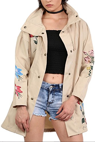 Floral Embroidered Lightweight Canvas Parka Jacket in Stone