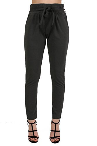 Tie Paper Bag Waist Trousers in Black