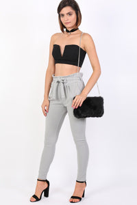 Tie Paper Bag Waist Trousers in Grey 4