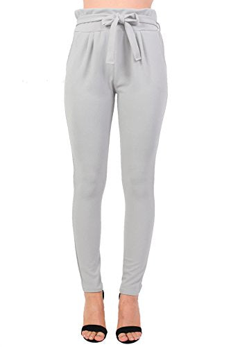 Tie Paper Bag Waist Trousers in Grey