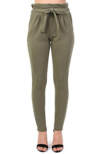 Tie Paper Bag Waist Trousers in Khaki Green