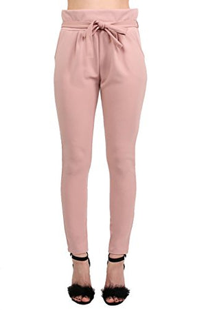 Tie Paper Bag Waist Trousers in Rose Pink