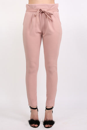 Tie Paper Bag Waist Trousers in Rose Pink 1
