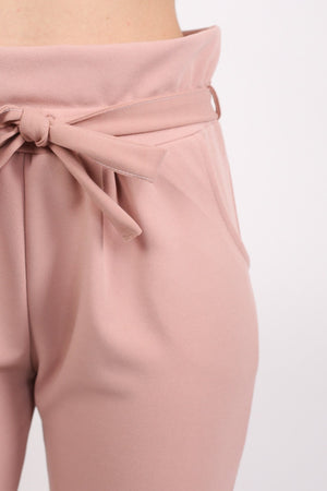 Tie Paper Bag Waist Trousers in Rose Pink 2