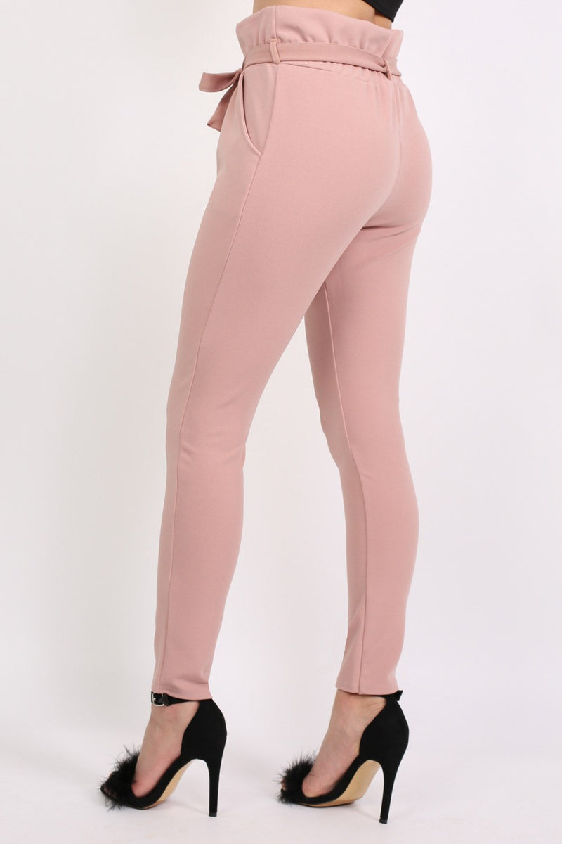 Tie Paper Bag Waist Trousers in Rose Pink 3