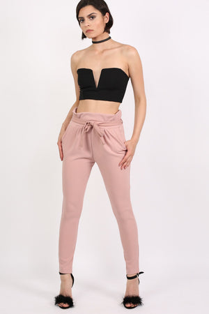 Tie Paper Bag Waist Trousers in Rose Pink 4
