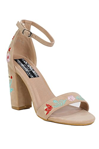 Floral Embroidered Block High Heel Sandals in Nude
