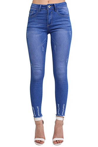 Frayed Hem Distressed Skinny Jeans in Denim