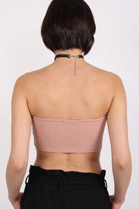 Bandeau V Front Bralet Top in Rose Pink 3