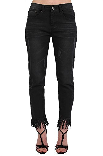 Fringed Hem Cropped Jeans in Black