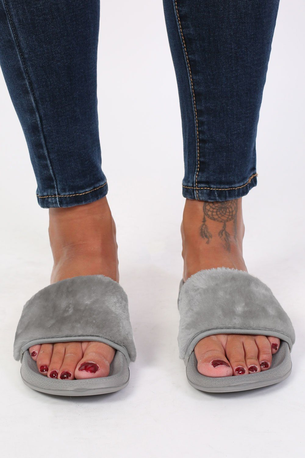 Faux Fur Sliders in Grey 1