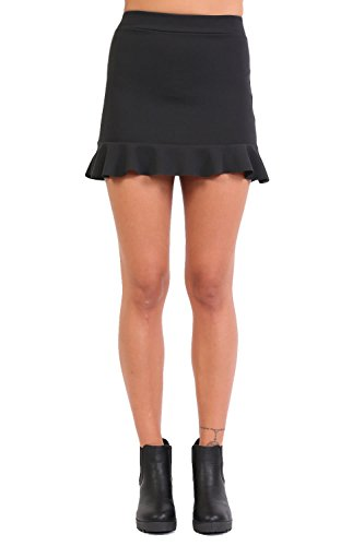 Plain Frill Hem Mini Skirt in Black