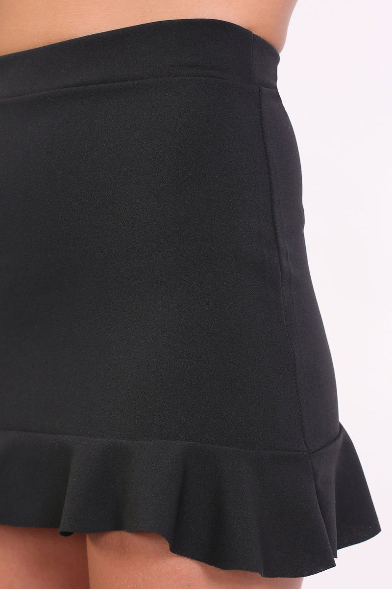 Plain Frill Hem Mini Skirt in Black 4