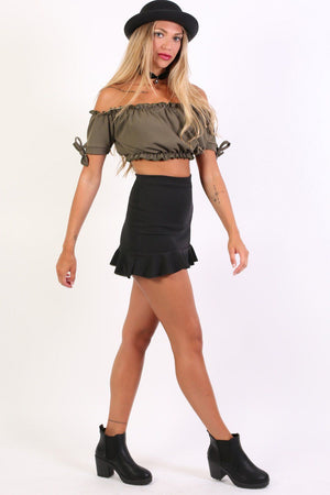Plain Frill Hem Mini Skirt in Black 5
