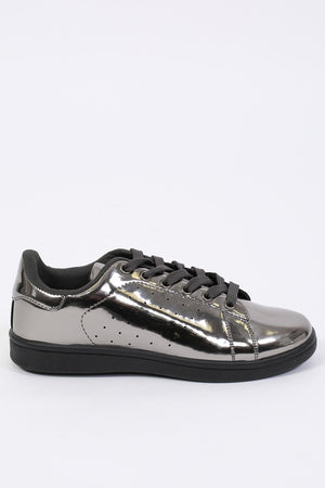 Plain Mirror Shine Trainer Pumps in Pewter 5