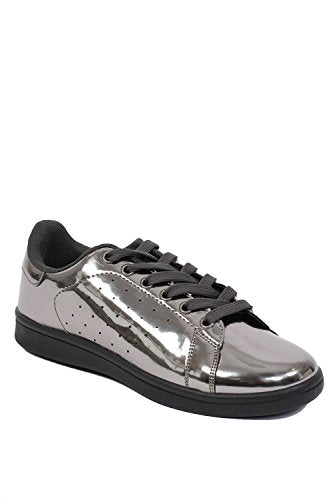 Plain Mirror Shine Trainer Pumps in Pewter