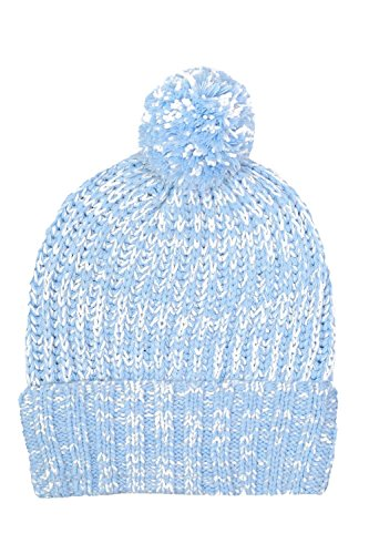 Pom Pom Marl Ribbed Beanie Hat in Dusty Blue