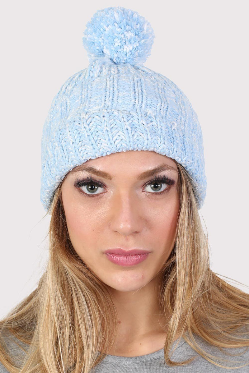 Pom Pom Marl Ribbed Beanie Hat in Dusty Blue 1